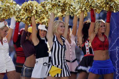 Cheerleaders in costume